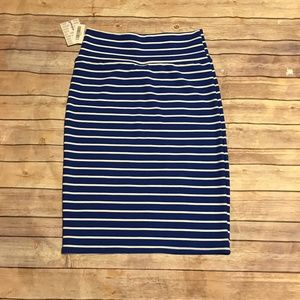 LuLaRoe Cassie Royal Blue and White Striped Skirt